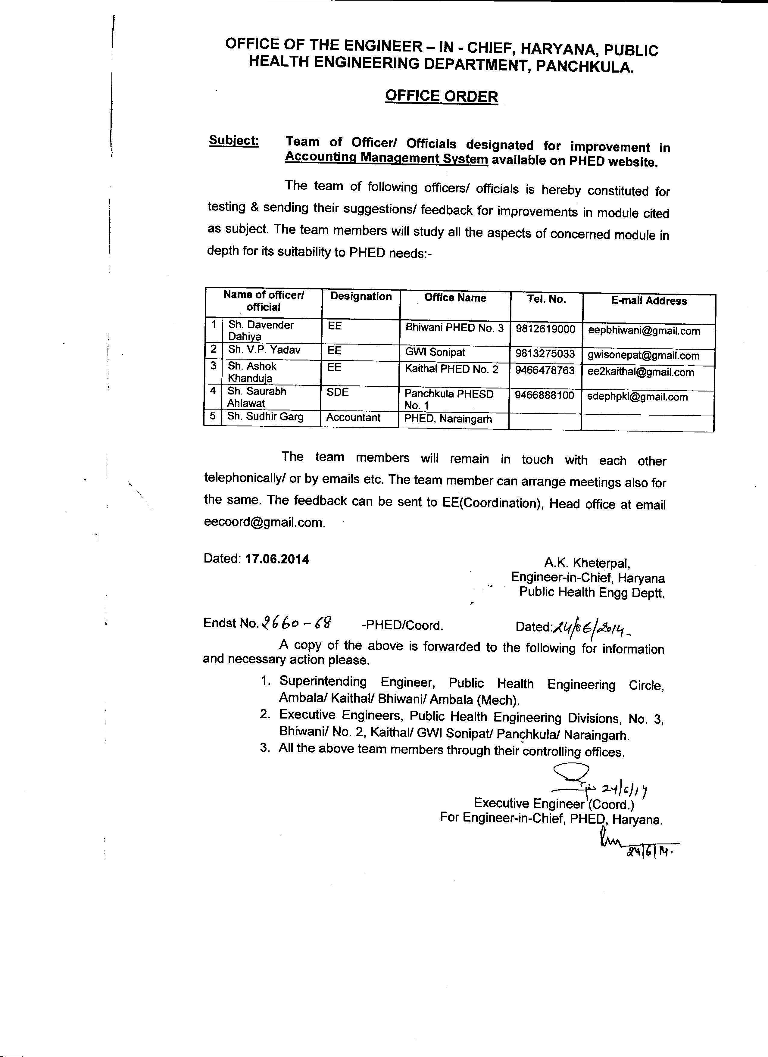 Public Health Engineering Department Haryana Prophet Wiring Diagram Team Of Officer Officials Designated For Improvement In Accounting Management System Available On Phed Website